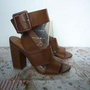 Leila Stone Saige Brown Ankle Wrap Sandal -Size 6